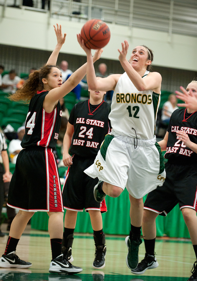 Sarah Semenero drives for a shot during the Broncos' game against Cal State East Bay at Kellogg Gym on January 5, 2012.