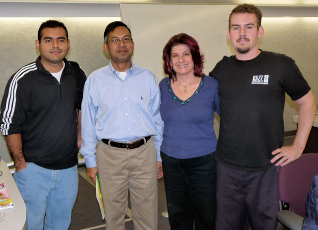 From left: student Rodolfo Torres, Professor Tarique Hossain, Seena Sharp and student Frank Occiato