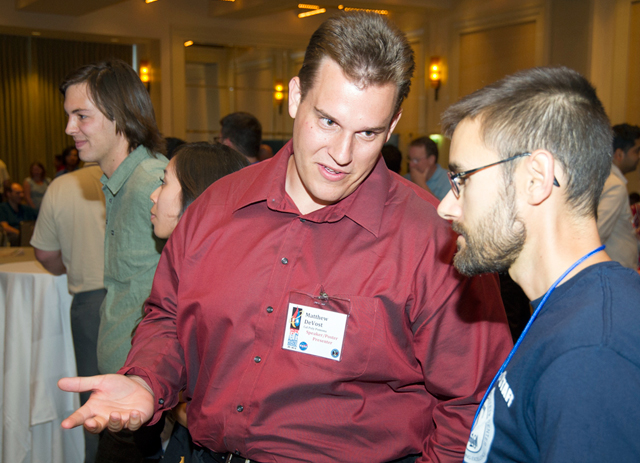 Matthew DeVost discusses his research at the Thermal & Fluids Analysis Workshop in Pasadena in 2012.