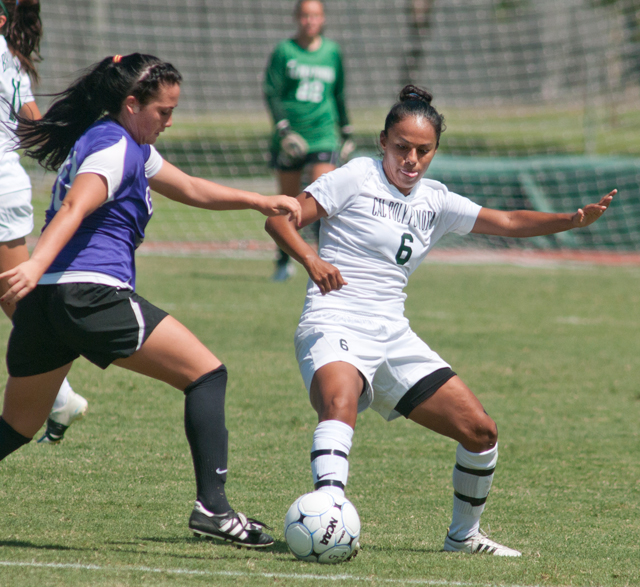 Jennifer Rivera battles for a ball during the Broncos 4-2 win over Grand Canyon University September 1, 2011.