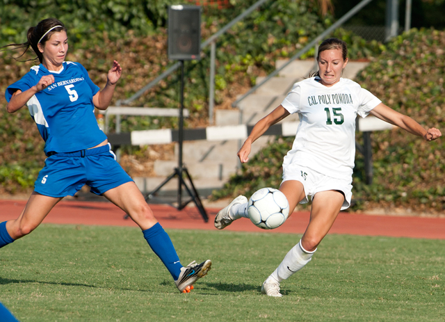 Angela Garcia beats Kristina Gomez to the ball during the Broncos win over Cal State San Bernardino September 16, 2011.