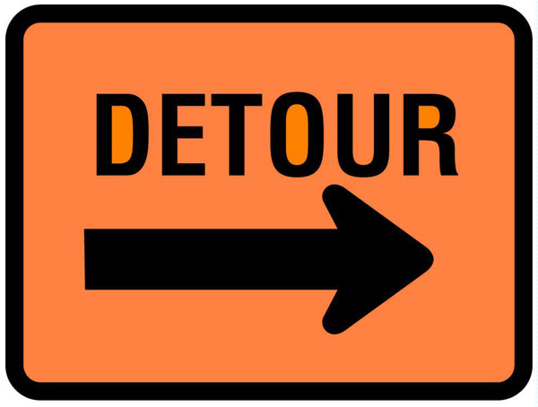 University Drive Closed; Detour Signs Posted