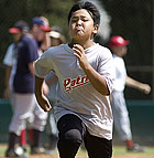 Joseph Ontell runs the bases during a drill at Bronco Baseball Camp.