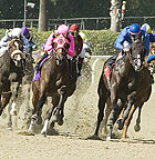 Mike Smith (in pink) starts his charge aboard D. Double You as he beats Roadside Rest and Alex Solis (in blue helmet) in the the third race at Oak Tree at Santa Anita, on Day at the Races for Cal Poly Pomona's President's Council.