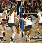 The Cal Poly Pomona volleyball team celebrate winning game 4 during the Broncos heartbreaking loss to Cal State Los Angeles in the first round of the NCAA West Regional playoffs at Cal State San Bernardino.
