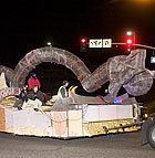 "The Cal Poly University&squot;s Rose Parade entry ""Guardians of Harmony"" starts its journey to Pasadena as it turns onto Temple Avenue from South Campus."