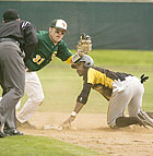 Jeff Ringholm tags out Chris Lloyd at second base on a steal attempt during the Broncos 3-1 loss against Cal State Los Angeles at Cal Poly Pomona.