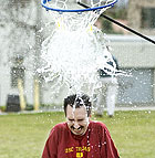 Eric Lara, retention coordinator for Maximizing Engineering Potential, winces as he is doused with water from an exploding water balloon during Engineering Week activities at Cal Poly Pomona.