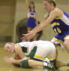 Tami Cades calls timeout after diving on a loose ball during a game against Cal State Bakersfield at Kellogg Gym.