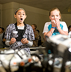 Maryam Ali, Lauren Garrett and Caroline Egbunike watch as their robot, DT Exterminator falls during the Second Annual Robot Competition at Cal Poly Pomona for students at Kingsley and Collegewood Elementary Schools in Pomona.