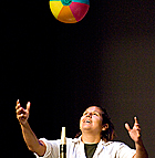 Maria Salazar watches as a beach ball rides a cushion of air during Physics Magic show during the Annual Variety Show during Staff Appreciation Day 2008 at Cal Poly Pomona.