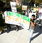 Students protest the Israeli offensive in Gaza  during University Hour at Cal Poly Pomona.
