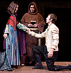 Stephanie Soukup as Juliet, Rick Gomez as Friar Laurence and Christopher Davis as Romeo in the Cal Poly Pomona Theatre Department production of Romeo and Juliet, which opens May 8th.