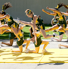 The Cheer Squad performs during lunch at  Bronco Fusion '09 at Cal Poly Pomona.