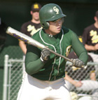 Victor Yoshida squares away to bunt during the Broncos game against CCAA opponent Cal State Los Angeles.