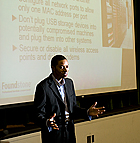 Corey White talks security  at the 2009 Cyber Security Fair at Cal Poly Pomona.