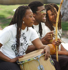 Pastinha's Garden of Capoeira De Angola, consisting of Zan Zetina, Jason Lee Byrd and Lawren Atkins perform as part of the Multicultural Extravaganza in University Park at Cal Poly Pomona May 20, 2003.