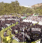 Graduates file in during the College of Business Administration commencement ceremony at Cal Poly Pomona.