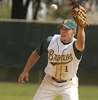 Matt Lopez waits for the throw as Brad Beltz steals second base during a game against UC San Diego at Cal Poly Pomona.