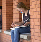 Lorian Adams, a junior majoring in animal science, looks over her Chemistry 122 textbook while studying in the BioScience Building at Cal Poly Pomona.