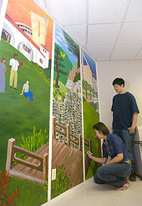 Graphic Design Students Create Campus Mural in Academic Senate Office