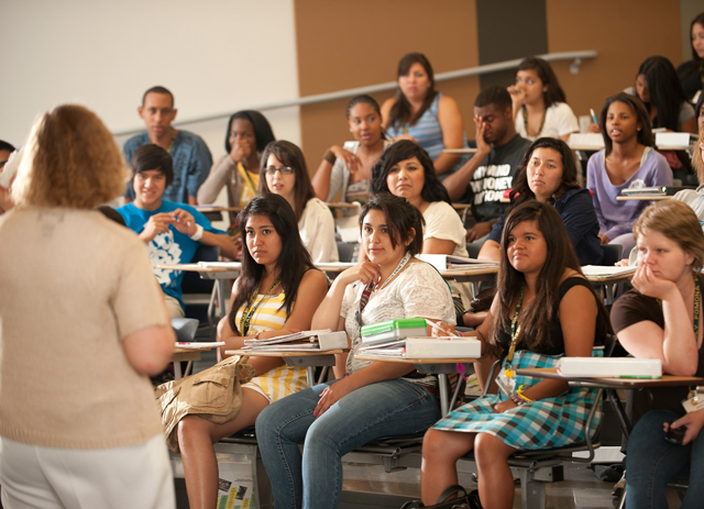 Summer bridge students listen to Professor Barbara Burke talk on July 5, 2011 about chemistry classes at Cal Poly Pomona.