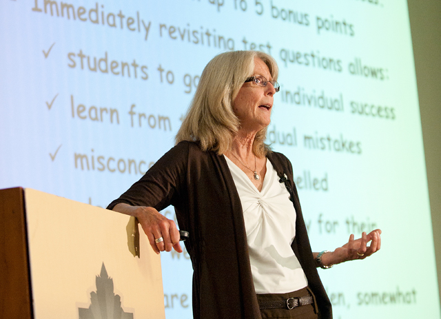 Biological sciences Professor Tina Hartney speaks at the Provost's Awards for Excellence on Oct. 4, 2011.