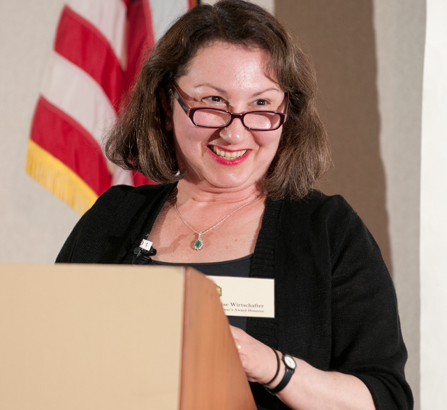 History Professor Elise Wirtschafter presents at the Provost's Awards for Excellence on Oct. 4, 2011.