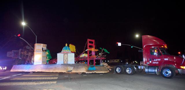 "KKW Trucking tows ""To the Rescue!"" to Pasadena Dec. 19, 2011."