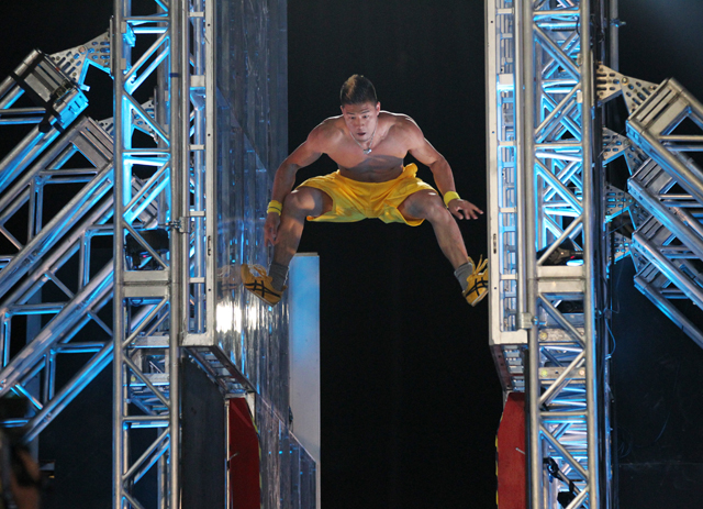 Derek Nakamoto moves through the Jumping Spider obstacle in the first stage of the finals of American Ninja Warrior in Las Vegas in 2012. (Photo courtesy of G4)