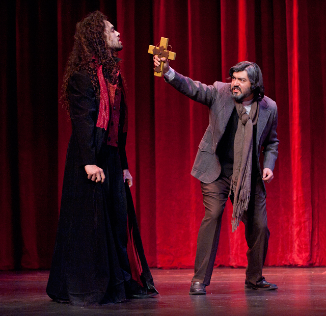 """Jorge Flores and Fabian Lopez play Dracula and Van Helsing in the winter quarter 2012 production of """"Dracula."""""""