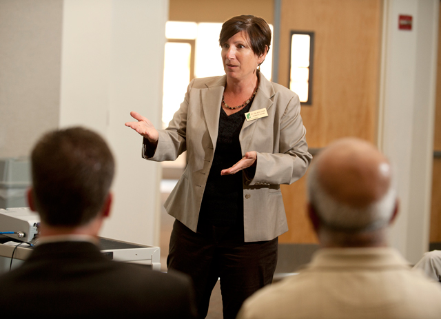 Professor Lisa Alex speaks during the Graduation Initiative discussion during Fall Conference September 19, 2011.