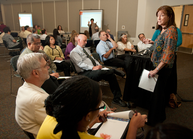 Claudia Pinter-Lucke speaks at the Graduation Initiative discussion during Fall Conference September 19, 2011.