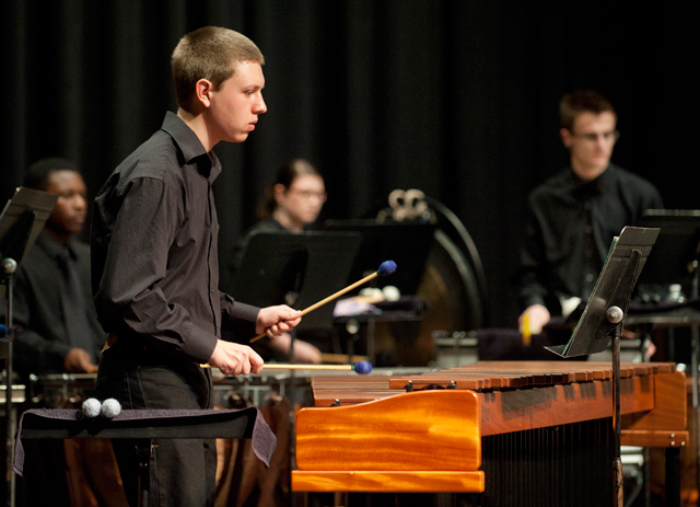 The Kellogg Percussion Ensemble performs Alan Hovhaness's October Mountain in the Music Recital Hall March 1, 2012.