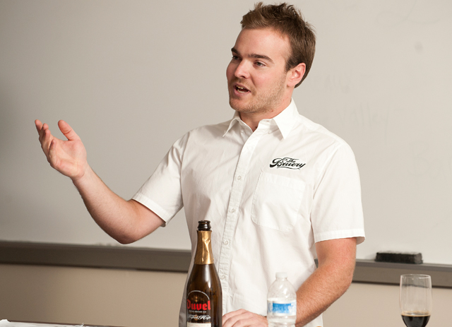 Tyler King, head brewer at The Bruery, speaks at Owen Williams' beer class November 2, 2011.
