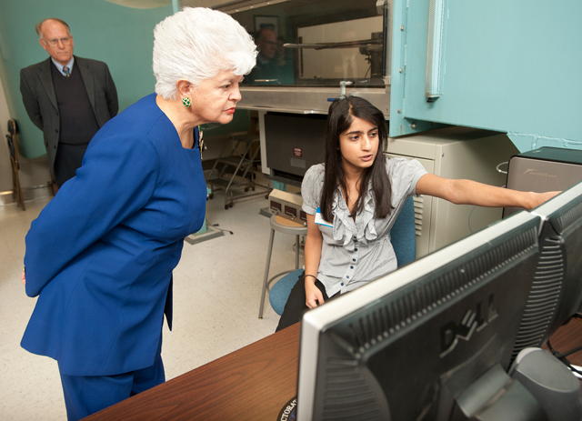 Senior aerospace engineering major Samira Motiwala demonstrates the subsonic wind tunnel for Congresswoman Grace Napolitano during her visit to the wind tunnel complex at Cal Poly Pomona January 12, 2012.