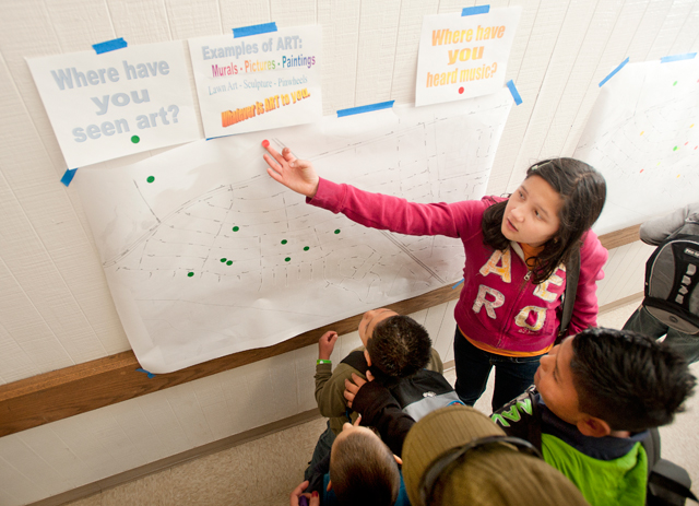 Youngsters from Westmont Elementary School in Pomona map out where they have observed art and music in their neighborhood.