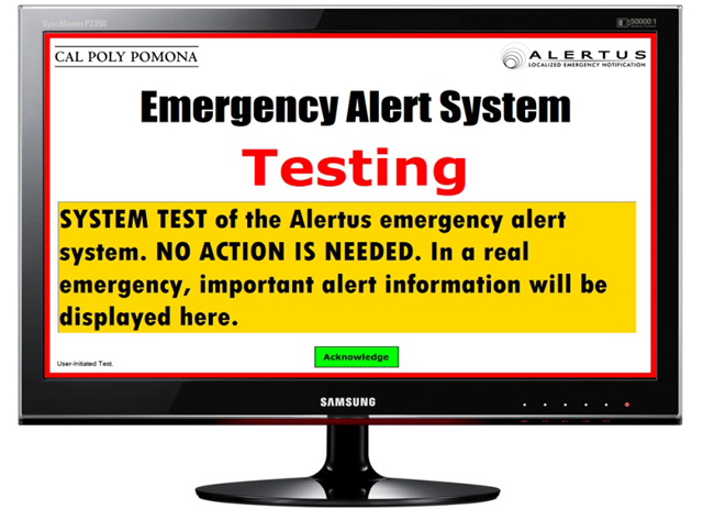 Safety Alert System Test on Thursday A.M.