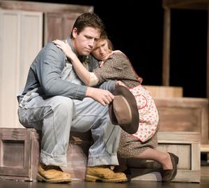 "Andzej Malins as Pa and Daniella Tarankon as Ma in the theatre department's ""The Grapes of Wrath."""