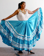 Adelaida Alvavez wears a Mixteca outfit for the International Fashion show, part of International Education Week in 2006.