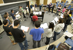 Iris Levine works with the Cal Poly Pomona Chamber Singers on October 27, 2009.