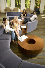 Students study in the newly renovated University Library.