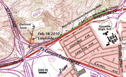 Map of the San Dimas Landslide
