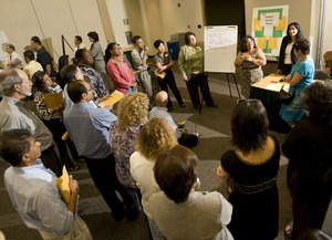 Faculty and staff gather during WASC Accreditation presentations in September 2009.