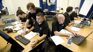The Cal Poly Pomona team protects its computer network against hackers during the Western Regional Collegiate Cyber Defense Competition at Cal Poly Pomona on March 26, 2010.