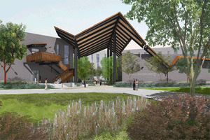 Artist's rendering of the main entrance to the College of Business Administration's new buildings.