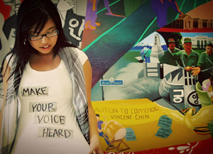 Photo for the Asian & Pacific Islander Student Center's Speak Up! Campaign. Photo by Michelle Carrillo.