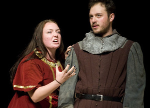 "Macbeth (Robert Shields) and Lady Macbeth (Nicole Herman) in the theatre department's production of ""Macbeth."""