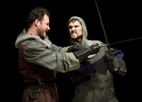 "Macbeth (Robert Shields) and MacDuff (Job Barnett) perform in the theater department's production of ""Macbeth."""