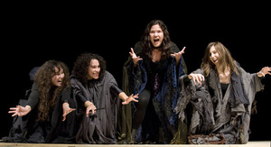 "Hecate (Stephanie Soukup) and the three witches (Vanessa Toyama, Sable Stevens and Erika Harlacher) the theatre department's production of ""Macbeth."""